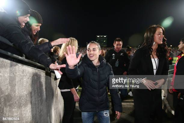 The Black Ferns interact with the supporters at the half time break during the Rugby Championship match between the New Zealand All Blacks and the...
