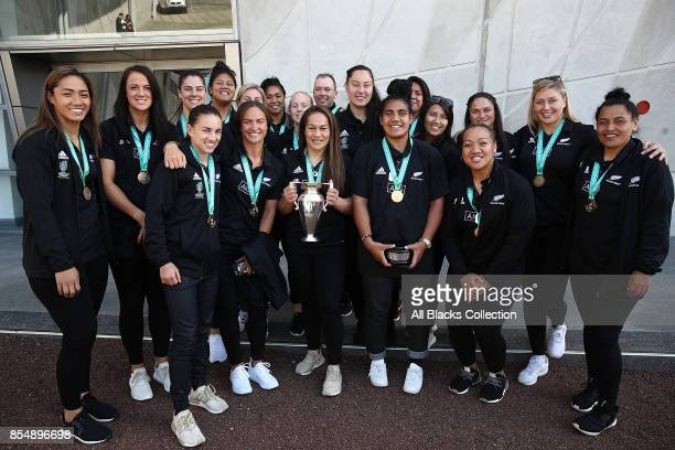 The Black Ferns pose with the Womens Rugby World Cup during the New Zealand Black Ferns celebration at Vodafone Events Centre on September 28 2017 in...