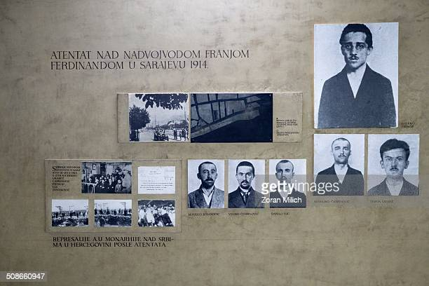 The Black Hand with Gavrilo Princip who started WW1 by assassinating Archduke Franz Ferdinand and his wife in Sarajevo Exhibit in the Belgrade...