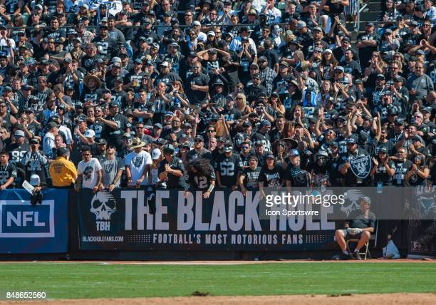 The Black Hole is fired up during the regular season game between the Oakland Raiders and the New York Jets on September 17 2017 at Oakland Alameda...
