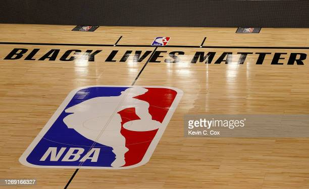 The Black Lives Matter logo is seen on an empty court as all NBA playoff games were postponed today during the 2020 NBA Playoffs at AdventHealth...