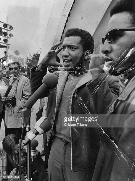 The Black Panthers' Fred Hampton speaks at a rally in Chicago's Grant Park in September 1969