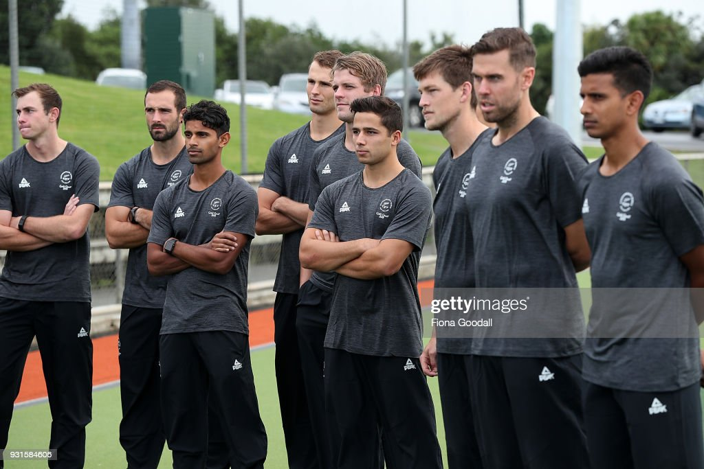 The Black Sticks team during the New Zealand Commonwealth Games Men's Hockey Team Selection Announcement at Harbour Hockey on March 14, 2018 in Auckland, New Zealand.