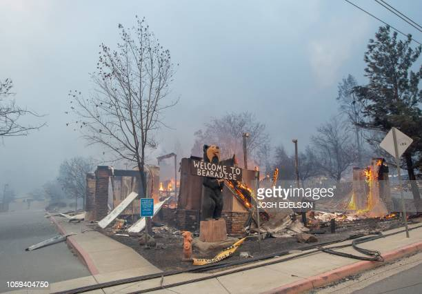 TOPSHOT The Blackbear Diner burns as the Camp fire tears through Paradise California on November 8 2018 More than 18000 acres have been scorched in a...