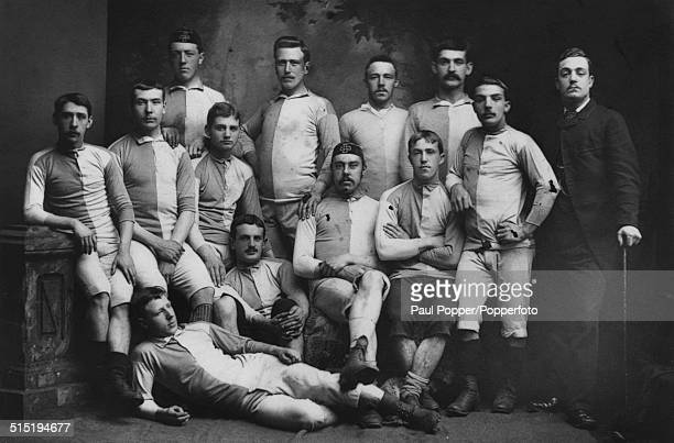 The Blackburn Rovers FA Cup final team, 1882. The team lost the final to the Old Etonians 1-0 at the Kennington Oval on 25th March 1882. On floor:...