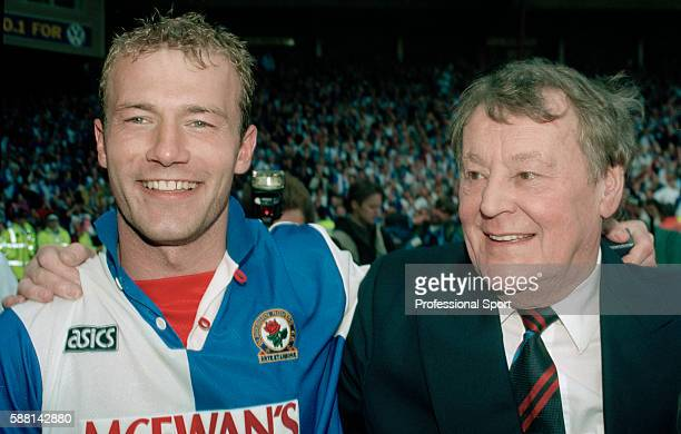 The Blackburn Rovers owner and chairman Jack Walker celebrating with Alan Shearer following their match against Liverpool at Anfield 14th May 1995