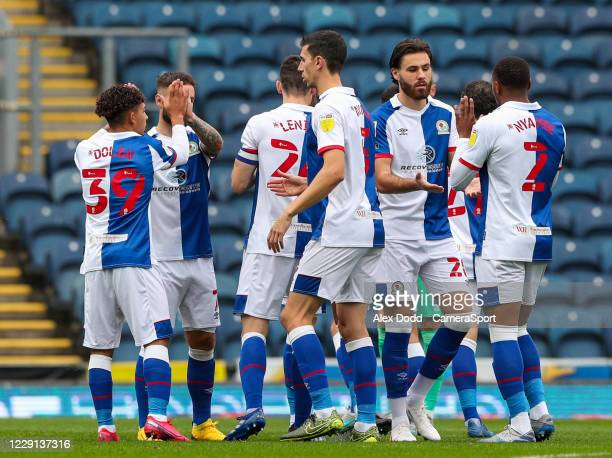 The Blackburn Rovers team jee each other up before the game during the Sky Bet Championship match between Blackburn Rovers and Nottingham Forest at...