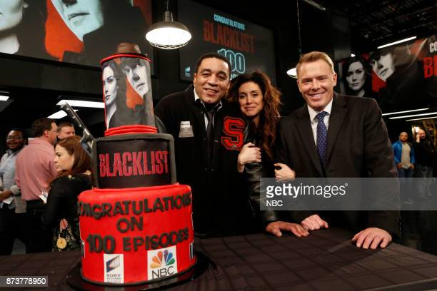 THE BLACKLIST The Blacklist Celebrates 100 Episodes Pictured Harry Lennix Mozhan Marnò Diego Klattenhoff from The Blacklist set on Monday November 13...