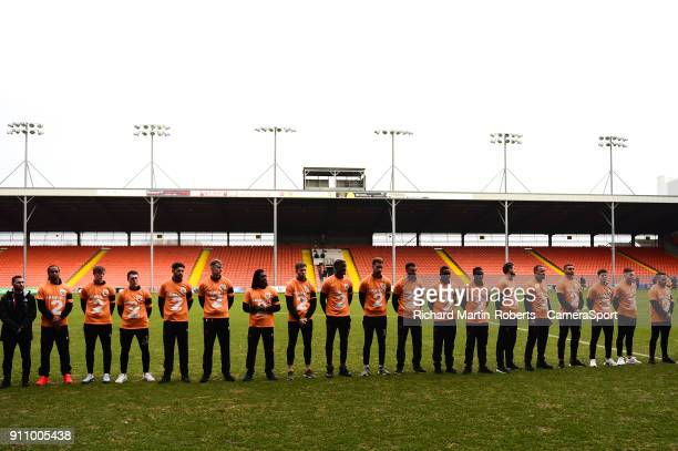 The Blackpool FC players wear Tshirts to honour the late Jimmy Armfield during the Sky Bet League One match between Blackpool and Charlton Athletic...