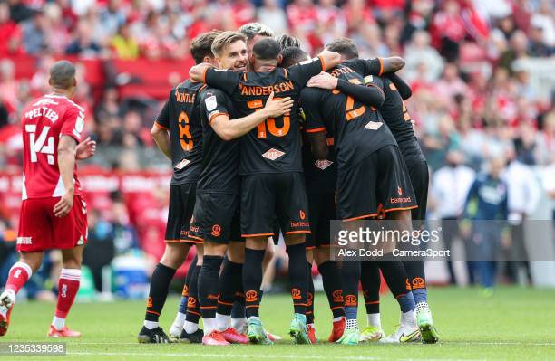 The Blackpool team celebrate going 2-1 up during the Sky Bet Championship match between Middlesbrough and Blackpool at Riverside Stadium on September...