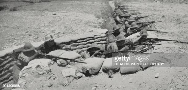 The Blackshirts of the Fasci Italiani all'estero Legion under the command of Piero Parini fight in the trenches during the second battle of Ogaden...