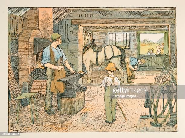 The Blacksmith from Four and Twenty Toilers pub 1900 colour lithograph accompanies verse by EV Lucas Edward Verrall Lucas 1868 1938