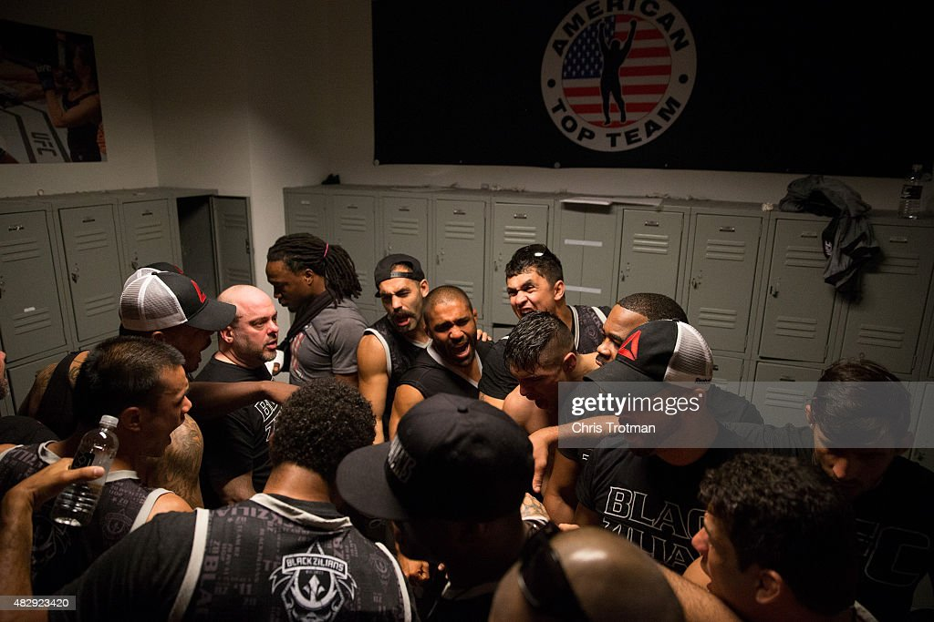 The Blackzilians huddle together after their loss to American Top Team during the filming of The Ultimate Fighter: American Top Team vs Blackzilians on February 27, 2015 in Coconut Creek, Florida.