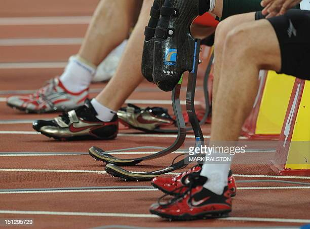 The blades of Oscar Pistorius of South Africa are seen before he won his heat of the men's 100 metre T44 classification race at the 2008 Beijing...