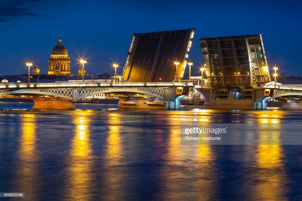 The Blagoveshchenskiy Bridge over the Neva River ahead of the FIFA World Cup 2018 on June 13, 2018 in St Petersburg, Russia.
