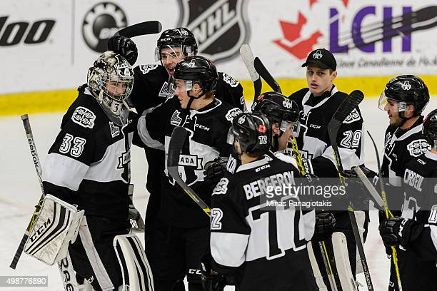 The Blainville-Boisbriand Armada celebrate their victory over the Moncton Wildcats during the QMJHL game at the Centre d'Excellence Sports Rousseau...