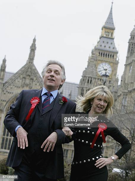 Actors Rik Mayall and Marsha Fitzalan pose as their comic 1980's TV characters Alan and Sarah B'Stard to launch the fourmonth UK tour of the stage...