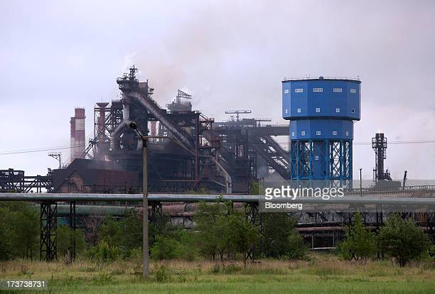The blast furnace structure stands at OAO Mechel's metallurgical plant in Chelyabinsk Russia on Wednesday July 17 2013 Mechel the country's largest...