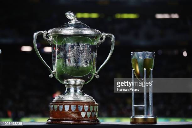 The Bledisloe Cup and Tri Nations trophies are seen during The Rugby Championship game between the New Zealand All Blacks and the Australia Wallabies...