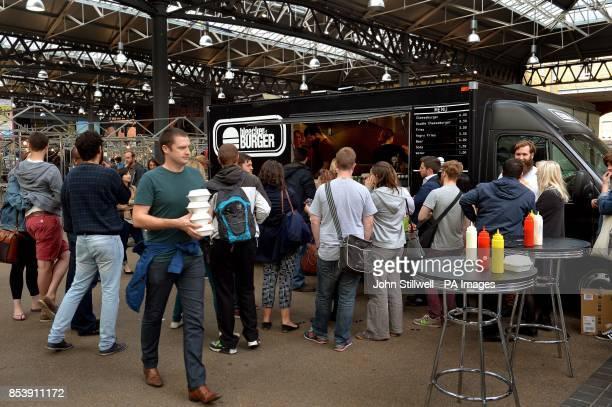 The Bleecker Street burger van at Spitalfields market in east London it's award winning burger is the Bleecher Black which is a traditional burger...