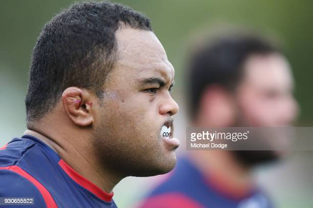 The bleeding cauliflower ears of Sam Talakai are seen during a Melbourne Rebels Super Rugby training session at Gosch's Paddock on March 12 2018 in...