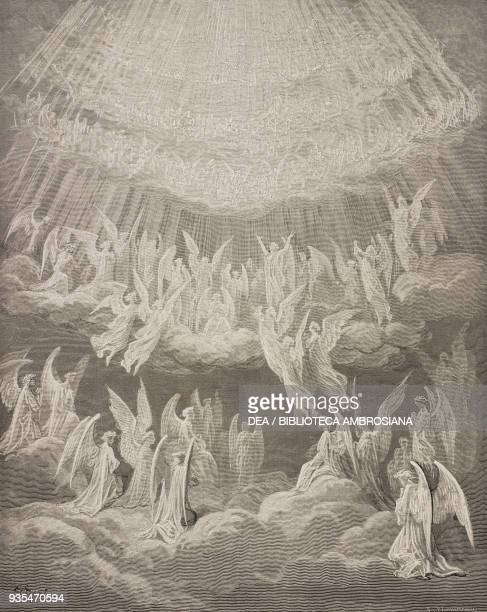 The blessed singing the Gloria in the Eighth Sphere of Heaven engraving by Gustave Dore Canto XXVII Paradise Divine Comedy by Dante Alighieri 1869...