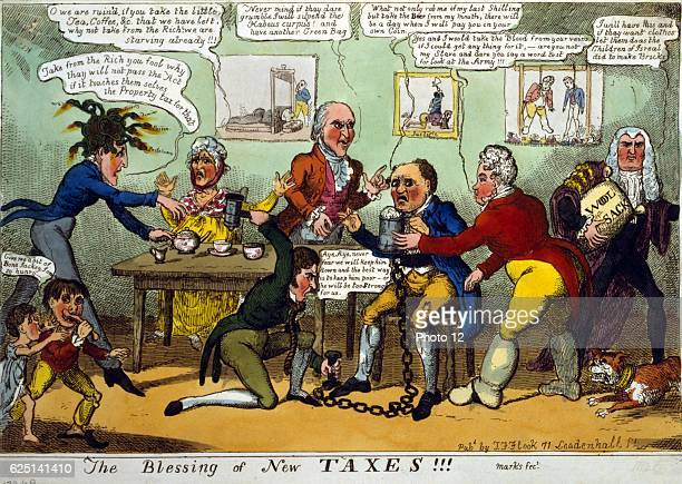 The Blessing of New Taxes John Bull is plagued by the Prince Regent and his ministers Sidmouth Vansittart Castlereagh and Eldon Woolsack