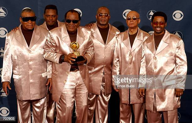The Blind Boys of Alabama pose backstage during the 44th Annual Grammy Awards at Staples Center February 27 2002 in Los Angeles CA The group won Best...