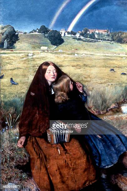 'The Blind Girl' 1856 Two beggar girls the elder one blind and with a concertina rest by a wayside stream after rain A double rainbow in background...