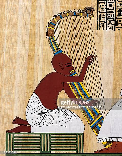 The blind harpist papyrus reconstruction of a fresco from the Theban tomb of Inherkhau original dating from the Dynasty XX Egyptian civilisation...