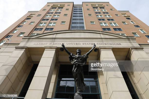 The Blind Justice statue stands outside of District Court in Alexandria Virginia US on Thursday Aug 16 2018 Lawyers at thePaul Manafortfraud trial...