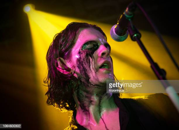 The Blinders lead singer Thomas Haywood performs with the band at the Arts Club on October 29 2018 in Liverpool England