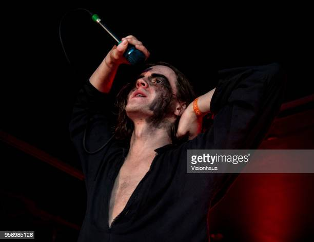 The Blinders lead singer Thomas Haywood performs with the band at the Wardrobe as part of the Live At Leeds Festival on May 5 2018 in Leeds England