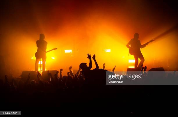 The Blinders with Thomas Haywood on guitar and vocals, Charlie McGough on bass and Matty Neale on drums perform at The Ritz on April 27, 2019 in...