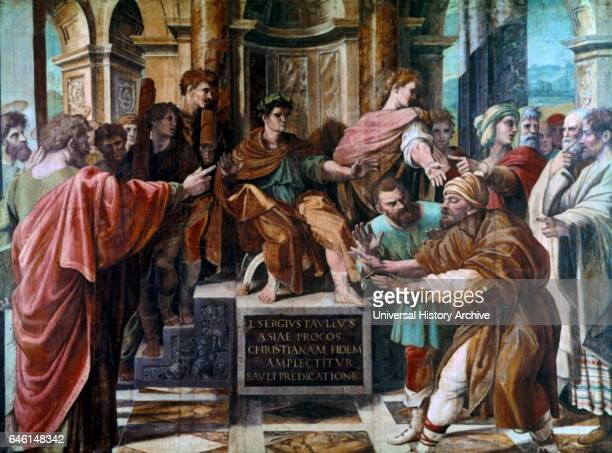 The Blinding of Elymas 1515 Painting by the Italian High Renaissance artist Raffaello Sanzio da Urbino Commissioned by Pope Leo X the painting shows...