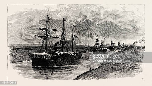 The Block In The Suez Canal: Procession Of Steamers After The Renewal Of Traffic.