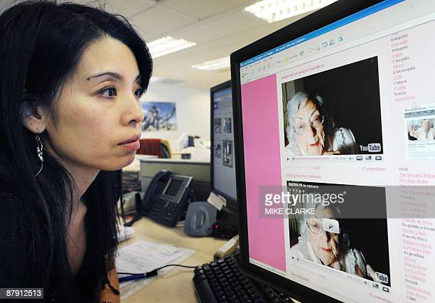 The blog of a Spanish greatgrandmother billed as the 'world's oldest blogger' is displayed on a screen in Hong Kong on May 22 2009 Maria Amelia Lopez...
