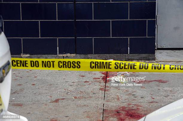 The blood sidewalk outside the 1 OAK Club early Wednesday morning on April 8 in New York Former New York Knick Chris Copeland now playing for the...