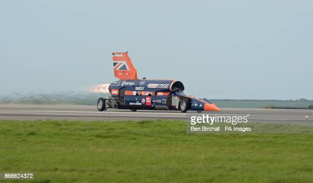 The Bloodhound 1000mph supersonic racing car during its first public run at Cornwall Airport near Newquay