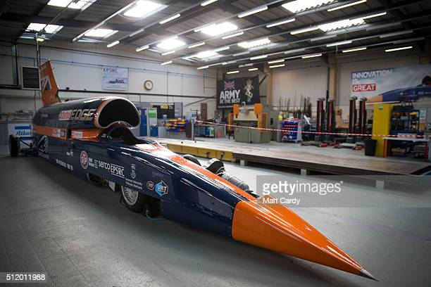 The Bloodhound SSC vehicle is parked at the design centre in Avonmouth on February 24 2016 in Bristol England It is hoped that when finally completed...