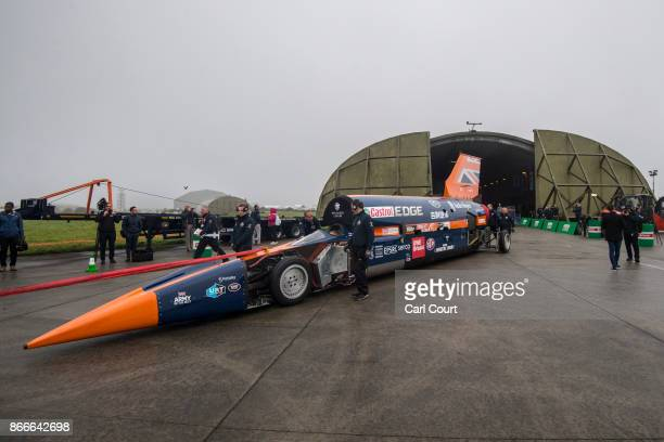 The Bloodhound supersonic car driven by Royal Air Force Wing Commander Andy Green is prepared for a test run at the airport on October 26 2017 in...