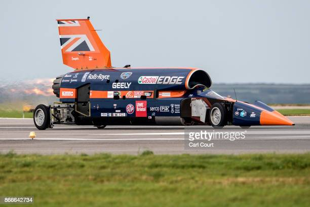 The Bloodhound supersonic car driven by Royal Air Force Wing Commander Andy Green undergoes a test run at the airport on October 26 2017 in Newquay...