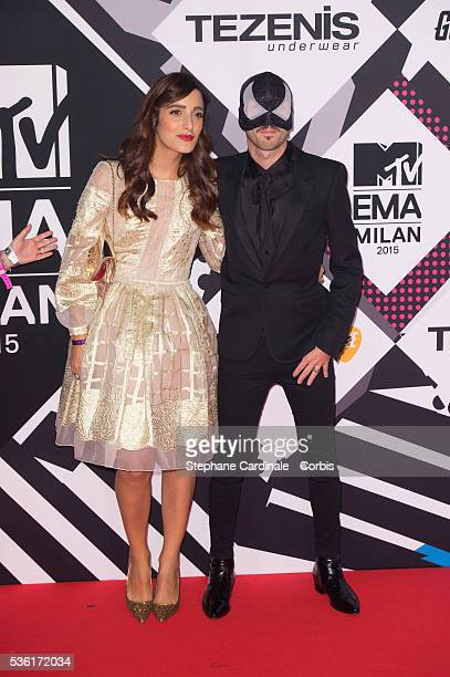 The Bloody Beetroots and Levante and wife attend the MTV EMA's 2015 at Mediolanum Forum on October 25 2015 in Milan Italy