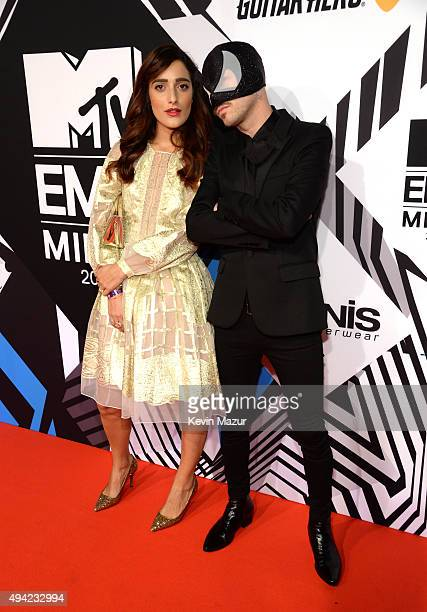 The Bloody Beetroots Levante and wife attend the MTV EMA's 2015 at Mediolanum Forum on October 25 2015 in Milan Italy