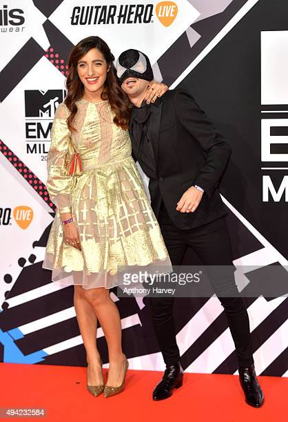The Bloody Beetroots Levante and wife attend the MTV EMA's 2015 at the Mediolanum Forum on October 25 2015 in Milan Italy