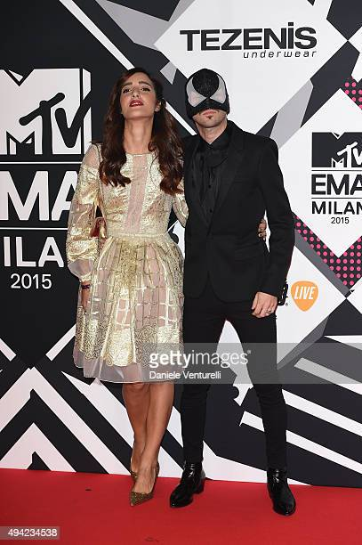 The Bloody Beetroots Levante and wife attends the MTV EMA's 2015 at Mediolanum Forum on October 25 2015 in Milan Italy