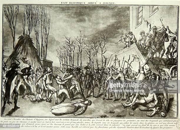 The bloody massacres of La Glacière that took place during 16–17 October 1791 in the Tour de la Glacière of the Palais des Papes at Avignon then but...