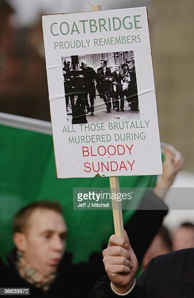 The Bloody Sunday Memorial march makes its way through George Square on January 21 2006 in Glasgow Scotland A heavy police presence kept the rival...