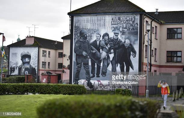 The Bloody Sunday mural depicting the body of Jackie Duddy being carried away after his shooting is seen at Free Derry Corner on March 13, 2019 in...