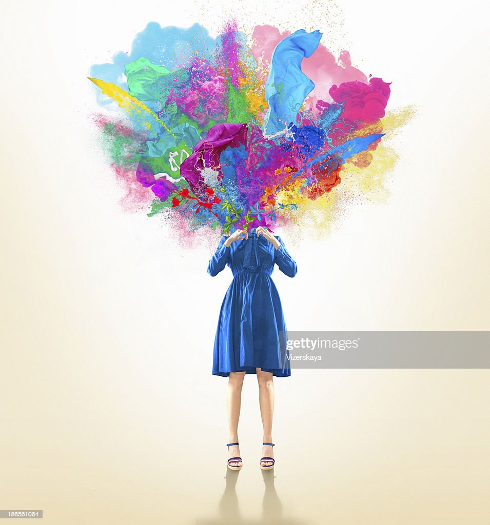 the blown-up head : Stock Photo